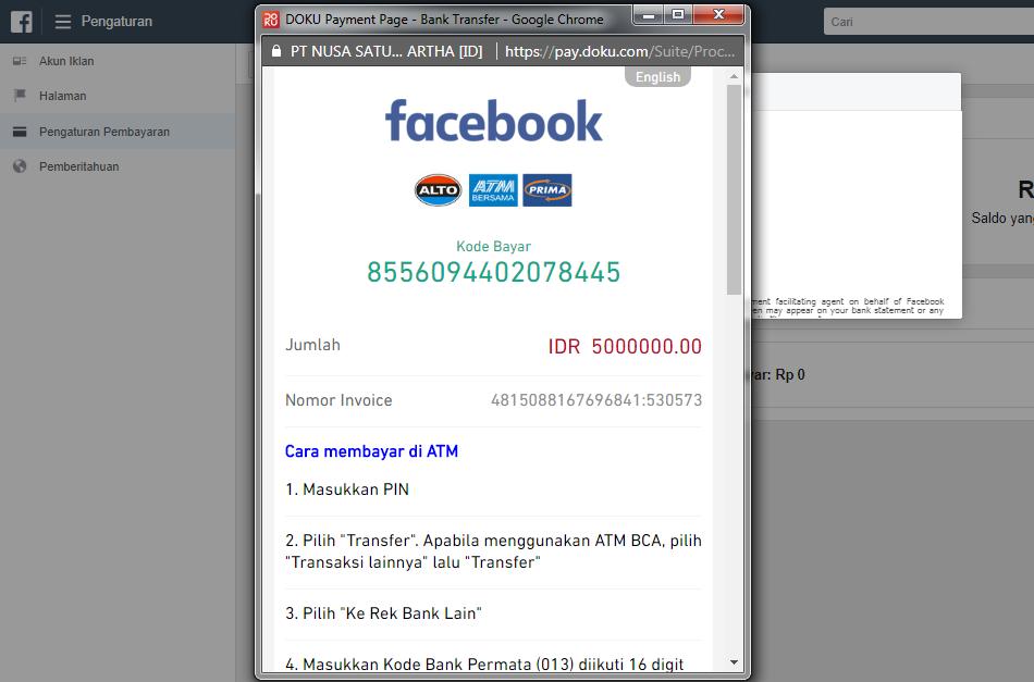 Cara Bayar Iklan Facebook Dengan Atm Transfer Tanpa Kartu Kredit Alona Co Id