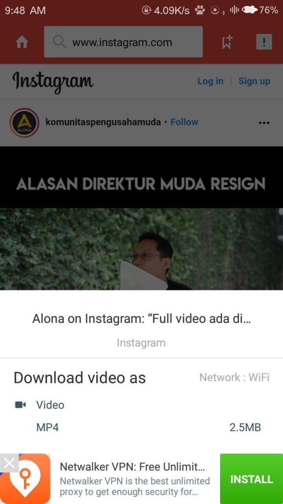 cara download viddeo instagram